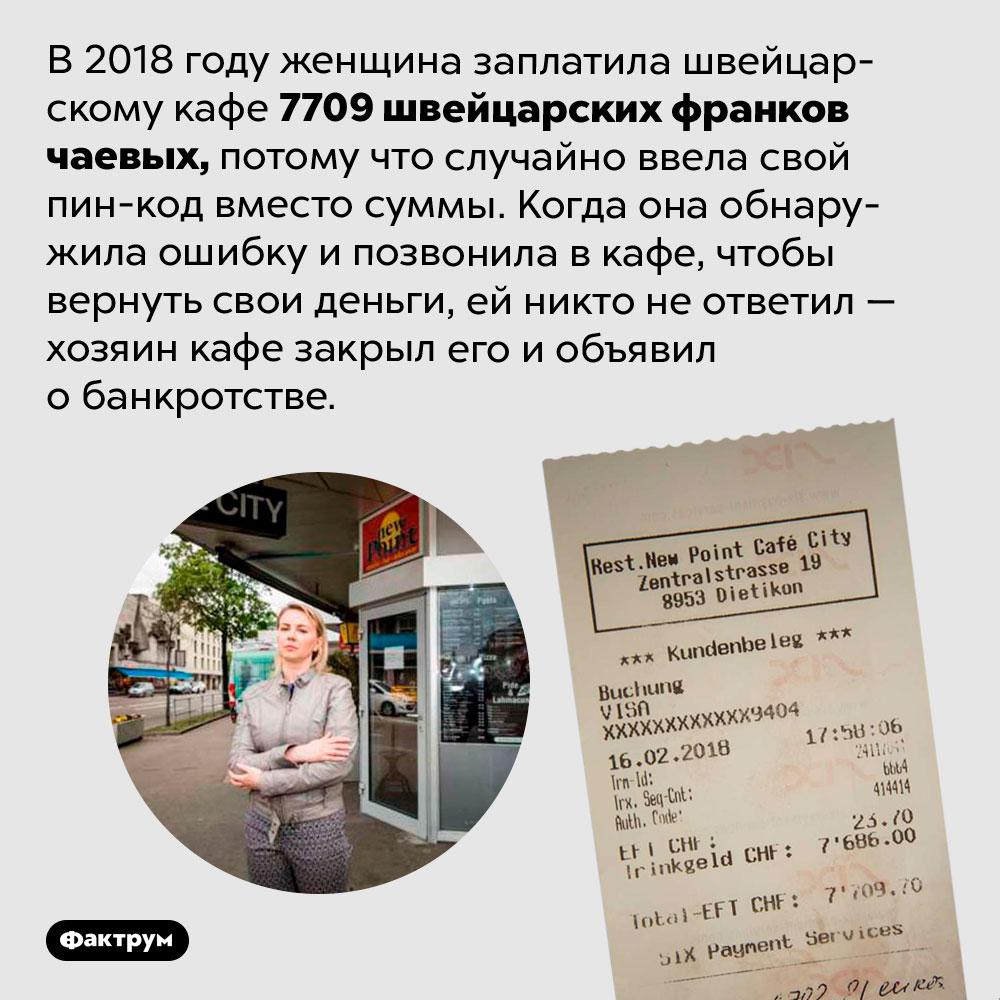 Женщина, которая оставила вкафе 7709долларов чаевых. В 2018 году женщина заплатила швейцарскому кафе 7709 швейцарских франков чаевых, потому что случайно ввела свой пин-код вместо суммы в долларах. Когда она обнаружила ошибку и позвонила в кафе, чтобы вернуть свои деньги, ей никто не ответил — хозяин кафе закрыл его и объявил о банкротстве.
