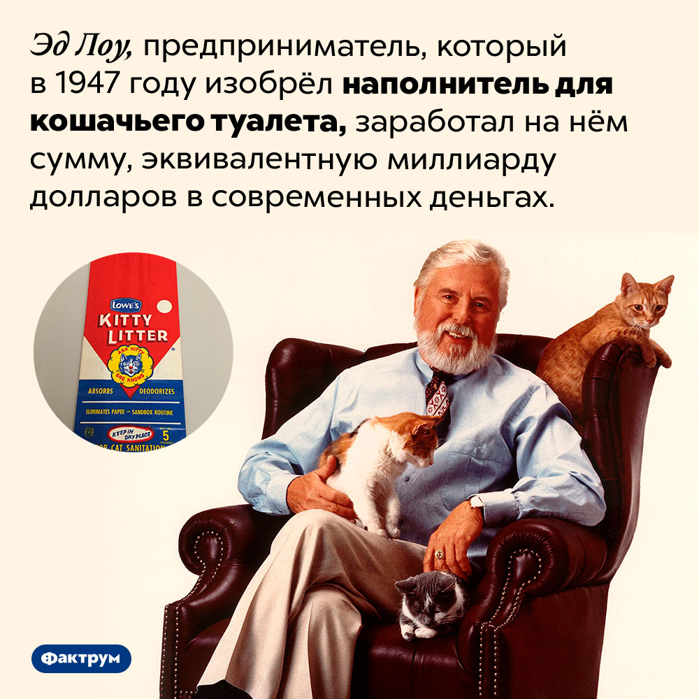 Изобретатель наполнителя для кошачьего туалета заработал нанём миллиард. Эд Лоу, предприниматель, который в 1947 году изобрёл наполнитель для кошачьего туалета, заработал на нём сумму, эквивалентную миллиарду долларов в современных деньгах.