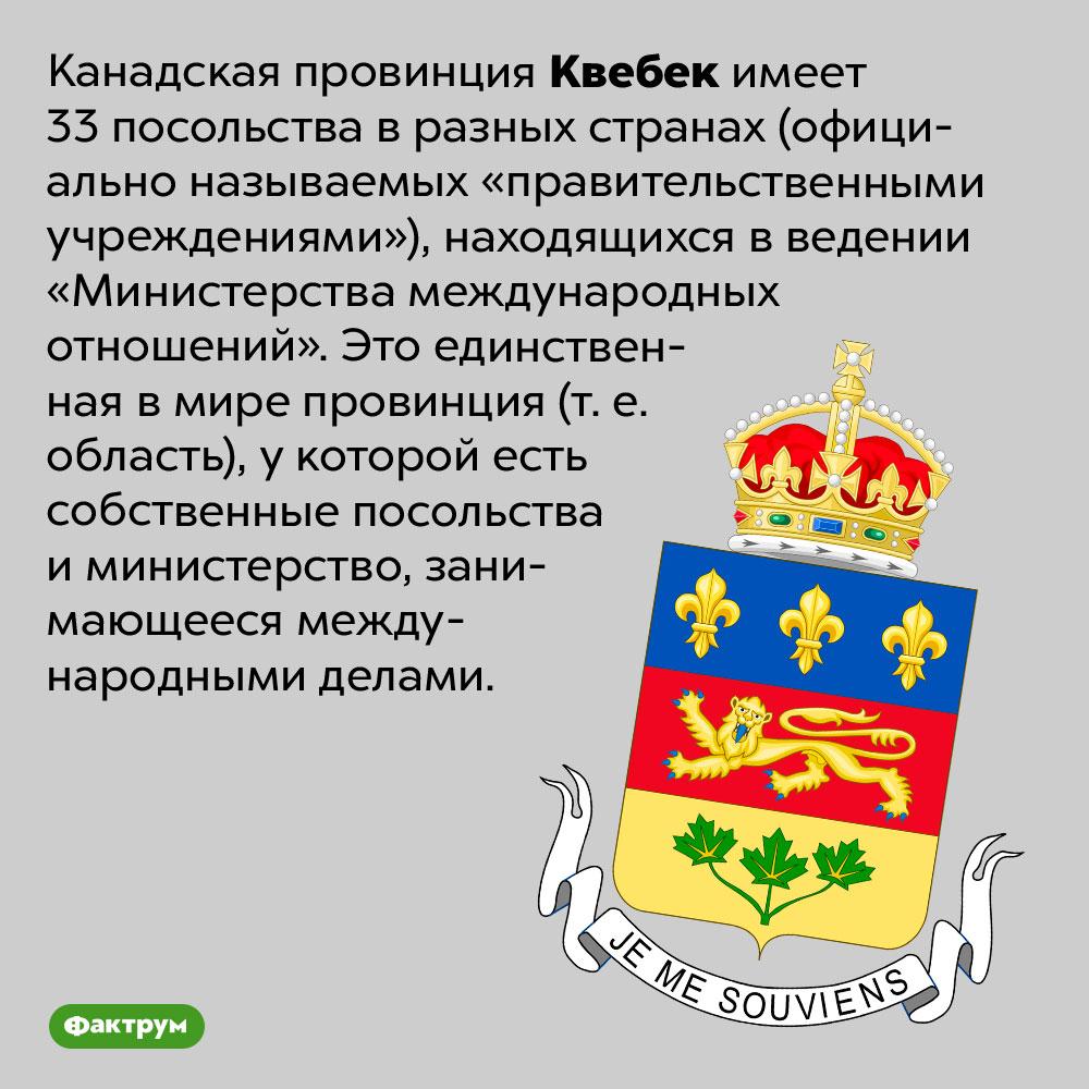 Чем уникальна канадская провинция Квебек. Канадская провинция Квебек имеет 33 посольства в разных странах (официально называемых «правительственными учреждениями»), находящихся в ведении «Министерства международных отношений». Это единственная в мире провинция (т. е. область), у которой есть собственные посольства и министерство, занимающееся международными делами.