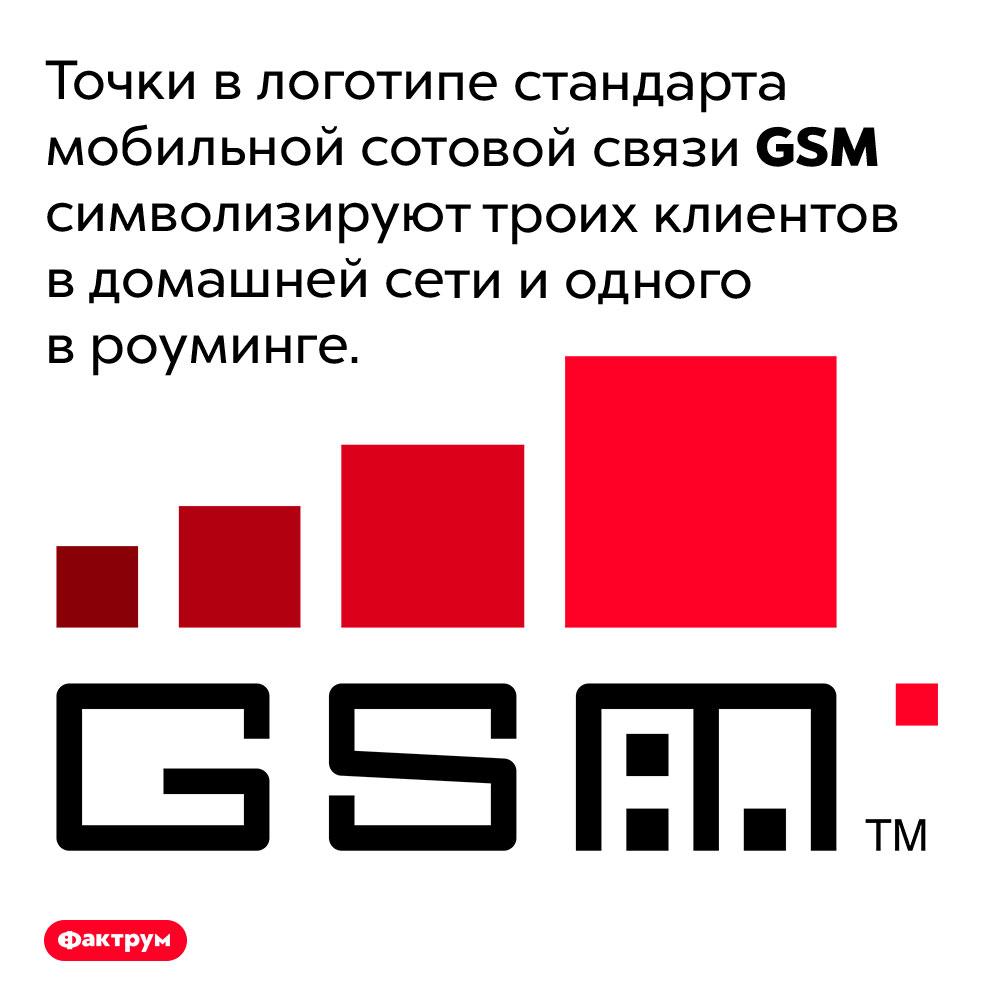 Точки влоготипе <em>GSM</em>. Точки в логотипе стандарта мобильной сотовой связи <em>GSM</em> символизируют троих клиентов в домашней сети и одного в роуминге.