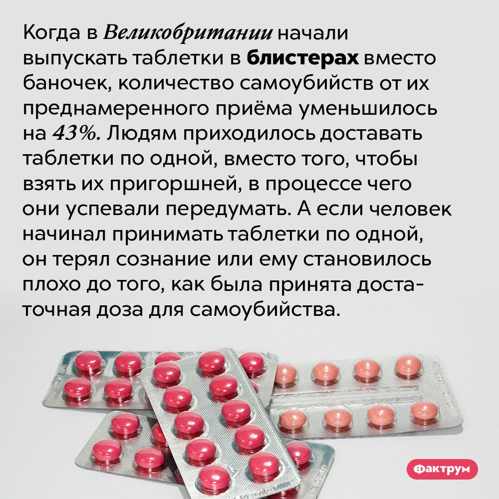 Упаковка, спасающая людей. Когда в Великобритании начали выпускать таблетки в блистерах вместо баночек, количество самоубийств от их преднамеренного приёма уменьшилось на 43%. Людям приходилось доставать таблетки по одной, вместо того, чтобы взять их пригоршней, в процессе чего они успевали передумать. А если человек начинал принимать таблетки по одной, он терял сознание или ему становилось плохо до того, как была принята достаточная доза для самоубийства.