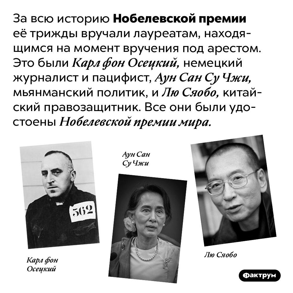 Кто получил Нобелевку, сидя под арестом. За всю историю Нобелевской премии её трижды вручали лауреатам, находящимся на момент вручения под арестом. Это были Карл фон Осецкий, немецкий журналист и пацифист, Аун Сан Су Чжи, мьянманский политик, и Лю Сяобо, китайский правозащитник. Все они были удостоены Нобелевской премии мира.