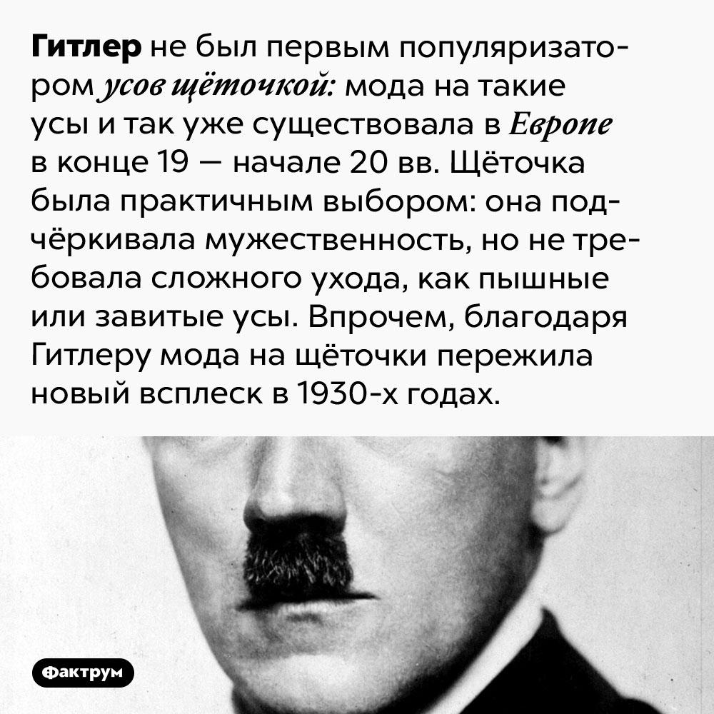Гитлер непервым ввёл моду наусы щёточкой. Гитлер не был первым популяризатором усов щёточкой: мода на такие усы и так уже существовала в Европе в конце 19 — начале 20 вв. Щёточка была практичным выбором: она подчёркивала мужественность, но не требовала сложного ухода, как пышные или завитые усы. Впрочем, благодаря Гитлеру мода на щёточки пережила новый всплеск в 1930-х годах.