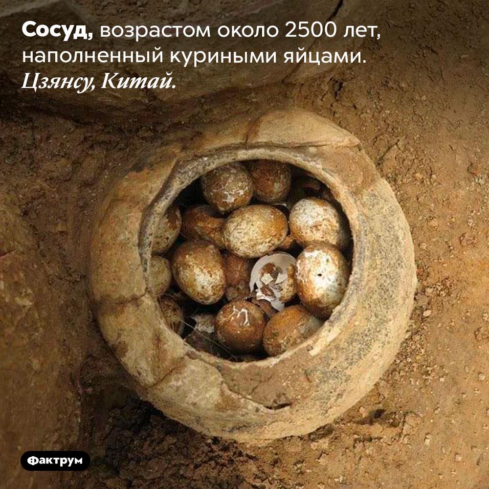 Сосуд, возрастом около 2500лет, наполненный куриными яйцами. Цзянсу, Китай.