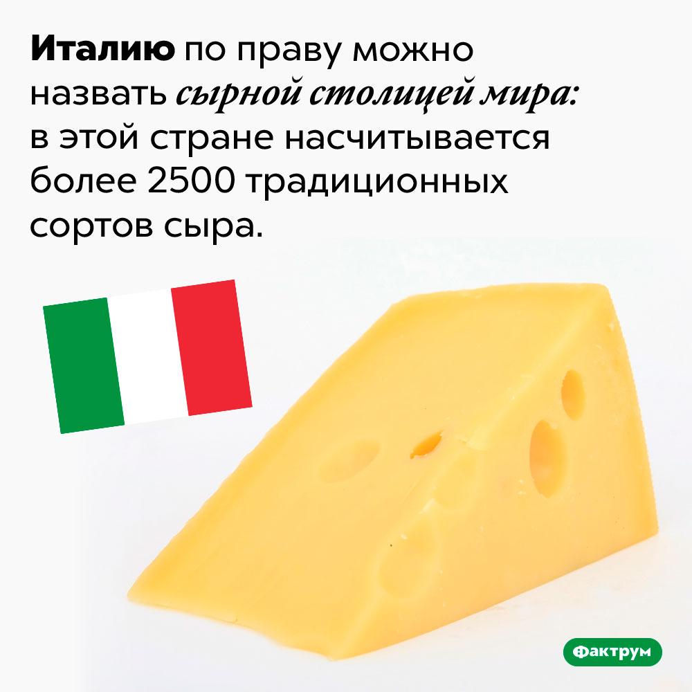 Италия — сырная столица мира. Италию по праву можно назвать сырной столицей мира: в этой стране насчитывается более 2500 традиционных сортов сыра.