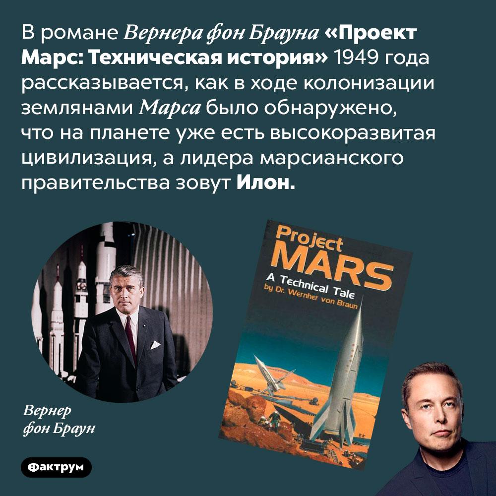 Вкниге Вернера фон Брауна 1949года, человек поимени Илон возглавляет Марс. В романе Вернера фон Брауна «Проект Марс: Техническая история» 1949 года рассказывается, как в ходе колонизации землянами Марса было обнаружено, что на планете уже есть высокоразвитая цивилизация, а лидера марсианского правительства зовут Илон.