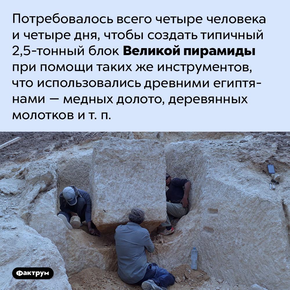 Насколько сложно создать типичный блок Великой пирамиды. Потребовалось всего четыре человека и четыре дня, чтобы создать типичный 2,5-тонный блок Великой пирамиды при помощи таких же инструментов, что использовались древними египтянами — медных долото, деревянных молотков и т. п.