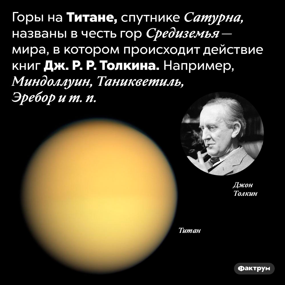 Горы наТитане названы вчесть гор Средиземья. Горы на Титане, спутнике Сатурна, названы в честь гор Средиземья — мира, в котором происходит действие книг Дж. Р. Р. Толкина. Например, Миндоллуин, Таникветиль, Эребор и т. п.