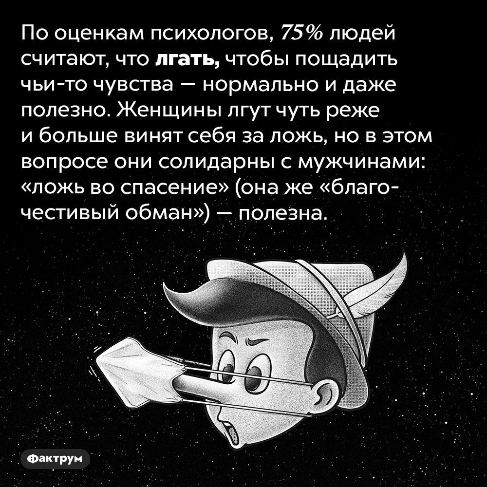 75%людей считают, что врать — это нормально. По оценкам психологов, 75% людей считают, что лгать, чтобы пощадить чьи-то чувства — нормально и даже полезно. Женщины лгут чуть реже и больше винят себя за ложь, но в этом вопросе они солидарны с мужчинами: «ложь во спасение» (она же «благочестивый обман») — полезна.