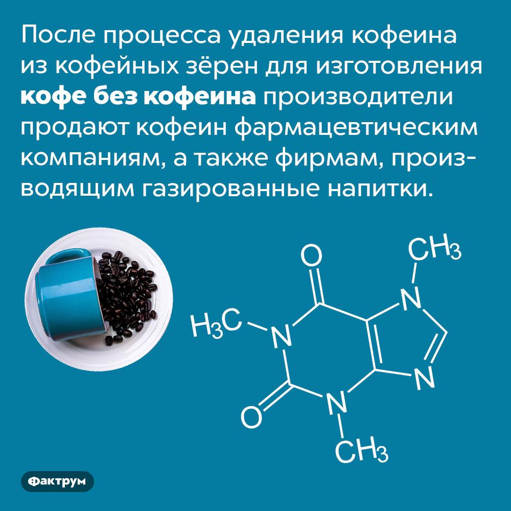 Куда девается кофеин изкофе без кофеина. После процесса удаления кофеина из кофейных зёрен для изготовления кофе без кофеина производители продают кофеин фармацевтическим компаниям, а также фирмам, производящим газированные напитки.
