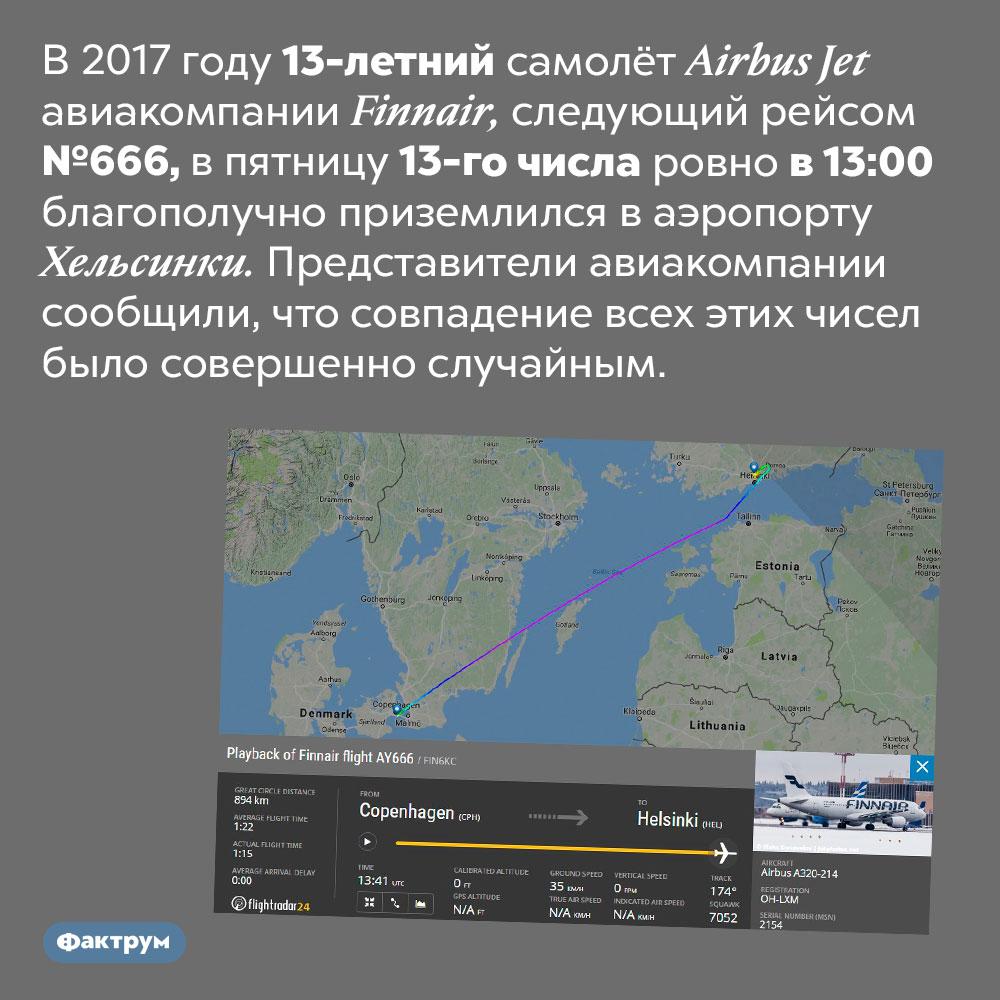 13-йрейс 13-летнего самолёта впятницу 13-гозакончился успешно. В 2017 году 13-летний самолёт Airbus Jet авиакомпании Finnair, следующий рейсом №666, в пятницу 13-го числа ровно в 13:00 благополучно приземлился в аэропорту Хельсинки. Представители авиакомпании сообщили, что совпадение всех этих чисел было совершенно случайным.