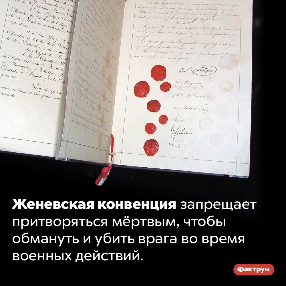 Согласно Женевской конвенции, на войне нельзя притворяться мёртвым. Женевская конвенция запрещает притворяться мёртвым, чтобы обмануть и убить врага во время военных действий.