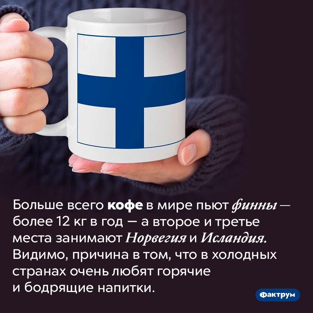 Финляндия — лидер поупотреблению кофе. Больше всего кофе в мире пьют финны — более 12 кг в год — а второе и третье места занимают Норвегия и Исландия. Видимо, причина в том, что в холодных странах очень любят горячие и бодрящие напитки.