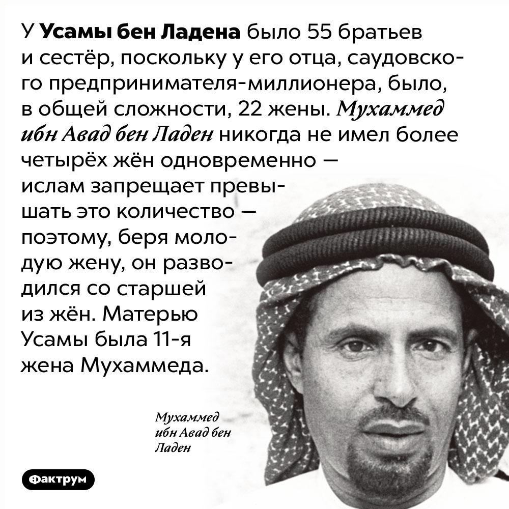 УУсамы бен Ладена было 55братьев исестёр. У Усамы бен Ладена было 55 братьев и сестёр, поскольку у его отца, саудовского предпринимателя-миллионера, было, в общей сложности, 22 жены. Мухаммед ибн Авад бен Ладен никогда не имел более четырёх жён одновременно — ислам запрещает превышать это количество — поэтому, беря молодую жену, он разводился со старшей из жён. Матерью Усамы была 11-я жена Мухаммеда.