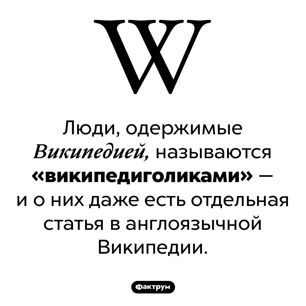 Кто такие «википедиголики». Люди, одержимые Википедией, называются «википедиголиками» — и о них даже есть отдельная статья в англоязычной Википедии.