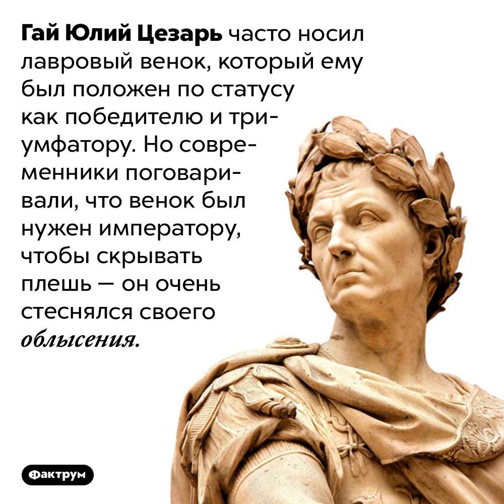 Гай Юлий Цезарь прятал лысину под венком. Гай Юлий Цезарь часто носил лавровый венок, который ему был положен по статусу как победителю и триумфатору. Но современники поговаривали, что венок был нужен императору, чтобы скрывать плешь — он очень стеснялся своего облысения.
