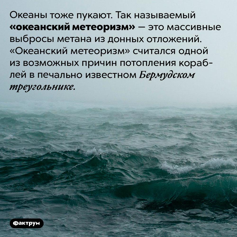 Океаны тоже пукают. Океаны тоже пукают. Так называемый «океанский метеоризм» — это массивные выбросы метана из донных отложений. «Океанский метеоризм» считался одной из возможных причин потопления кораблей в печально известном Бермудском треугольнике.