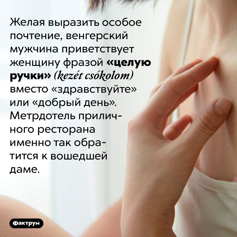 «Целую ручки» — приветствие дамы вВенгрии. Желая выразить особое почтение, венгерский мужчина приветствует женщину фразой «целую ручки» (kezét csókolom) вместо «здравствуйте» или «добрый день». Метрдотель приличного ресторана именно так обратится к вошедшей даме.