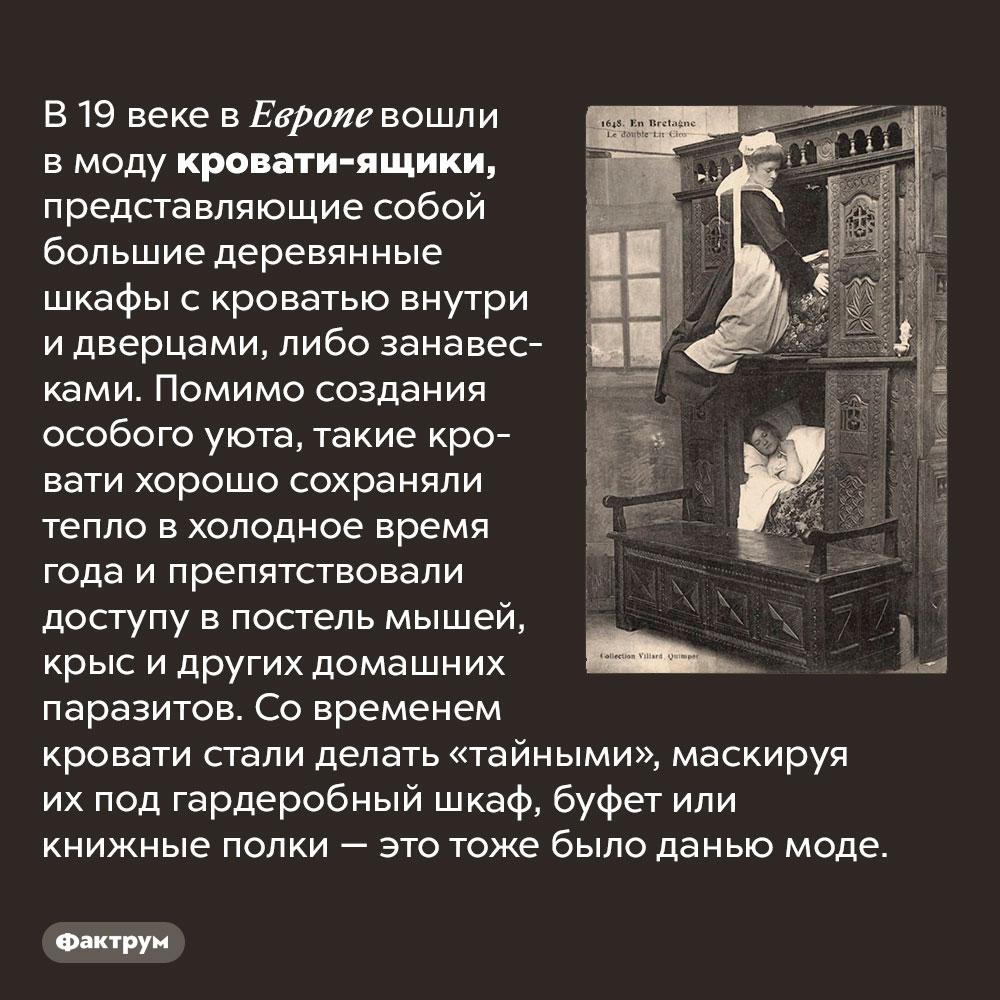 Зачем европейцы 19века спали вящиках. В 19 веке в Европе вошли в моду кровати-ящики, представляющие собой большие деревянные шкафы с кроватью внутри и дверцами, либо занавесками. Помимо создания особого уюта, такие кровати хорошо сохраняли тепло в холодное время года и препятствовали доступу в постель мышей, крыс и других домашних паразитов. Со временем кровати стали делать «тайными», маскируя их под гардеробный шкаф, буфет или книжные полки — это тоже было данью моде.