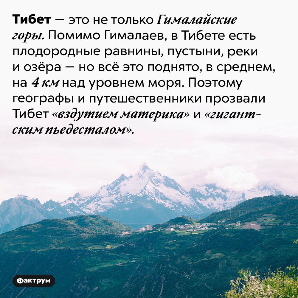 Где находится «вздутие материка». Тибет — это не только Гималайские горы. Помимо Гималаев, в Тибете есть плодородные равнины, пустыни, реки и озёра — но всё это поднято, в среднем, на 4 км над уровнем моря. Поэтому географы и путешественники прозвали Тибет «вздутием материка» и «гигантским пьедесталом».