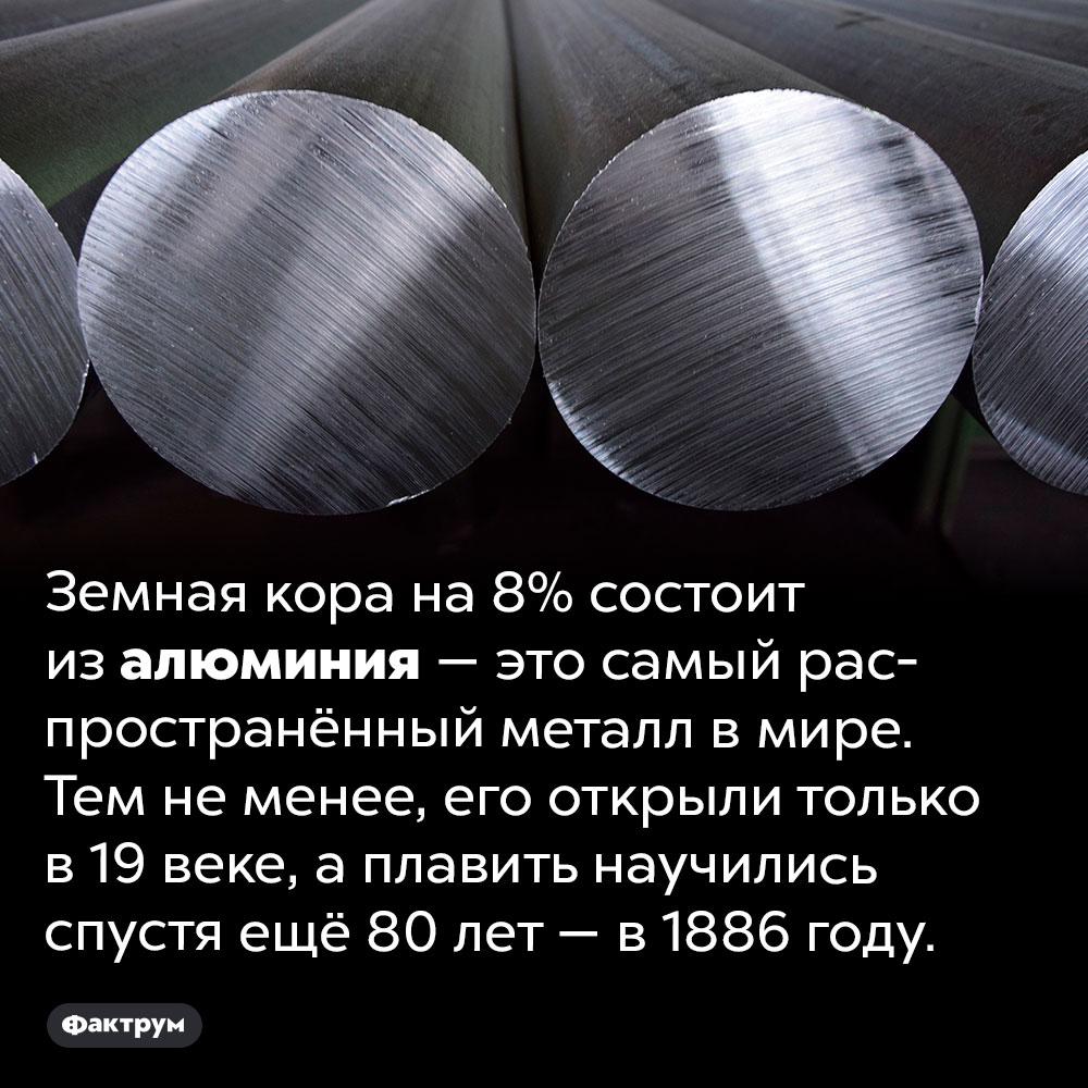 Самый распространённый металл вмире открыли только в19веке. Земная кора на 8% состоит из алюминия — это самый распространённый металл в мире. Тем не менее, его открыли только в 19 веке, а плавить научились спустя ещё 80 лет — в 1886 году.