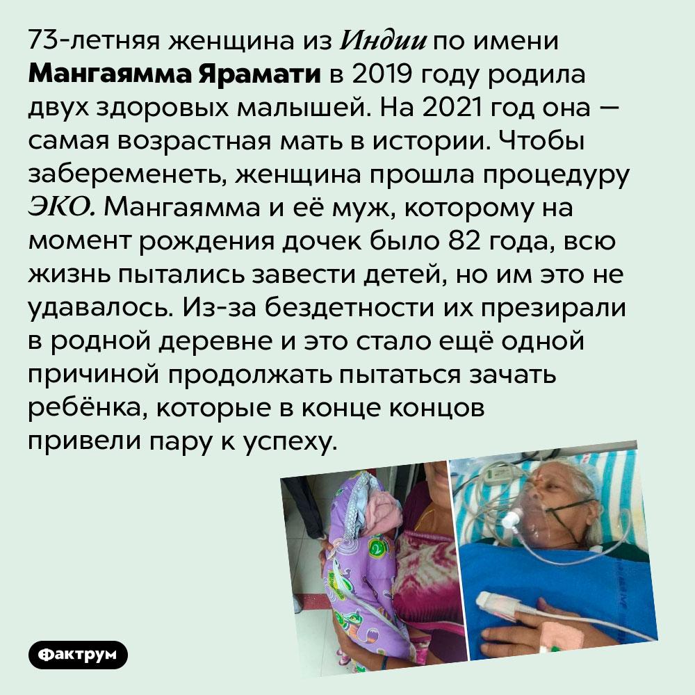 Самая старая мать вистории. 73-летняя женщина из Индии по имени Мангаямма Ярамати в 2019 году родила двух здоровых малышей. На 2021 год она — самая возрастная мать в истории. Чтобы забеременеть, женщина прошла процедуру ЭКО. Мангаямма и её муж, которому на момент рождения дочек было 82 года, всю жизнь пытались завести детей, но им это не удавалось. Из-за бездетности их презирали в родной деревне и это стало ещё одной причиной продолжать пытаться зачать ребёнка, которые в конце концов привели пару к успеху.