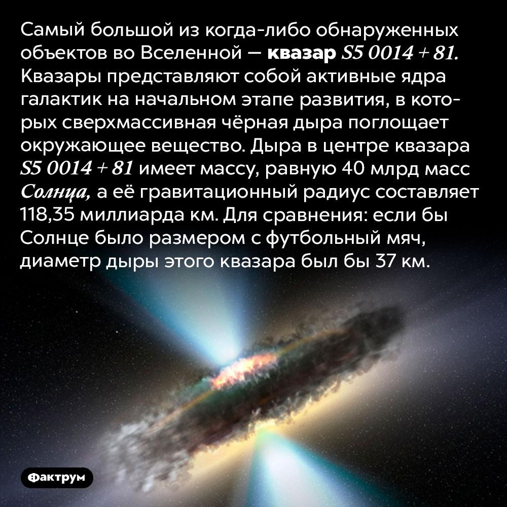 Самый большой объект воВселенной. Самый большой из когда-либо обнаруженных объектов во Вселенной — квазар S5 0014 + 81. Согласно Википедии, «квазары представляют собой активные ядра галактик на начальном этапе развития, в которых сверхмассивная чёрная дыра поглощает окружающее вещество». Дыра в центре квазара S5 0014 + 81 имеет массу, равную 40 млрд масс Солнца, а её гравитационный радиус составляет 118,35 миллиарда км. Для сравнения: если бы Солнце было размером с футбольный мяч, диаметр дыры этого квазара был бы 37 км.