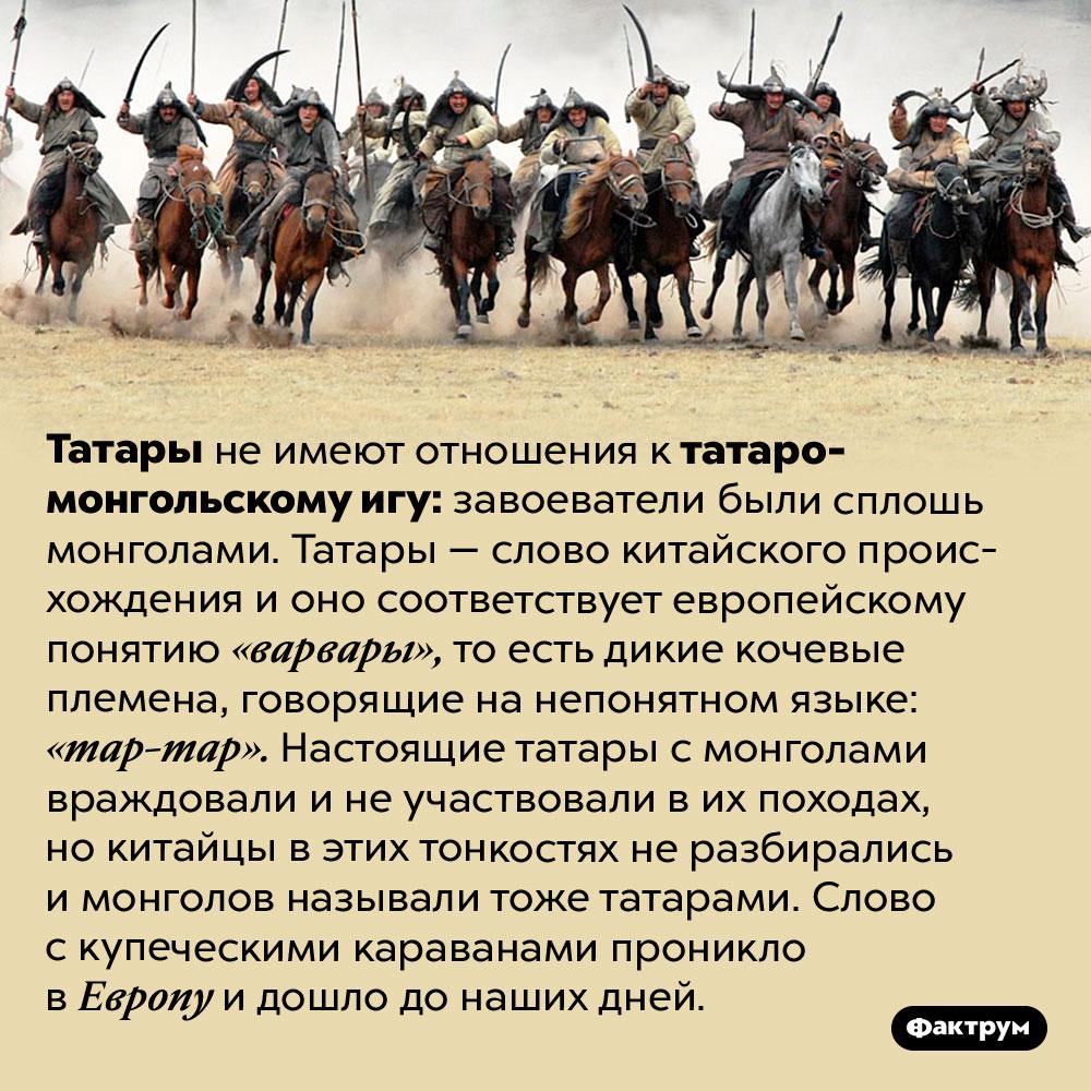 Почему иго — татаро-монгольское. Татары не имеют отношения к татаро-монгольскому игу: завоеватели были сплошь монголами. Татары — слово китайского происхождения и оно соответствует европейскому понятию «варвары», то есть дикие кочевые племена, говорящие на непонятном языке: «тар-тар». Настоящие татары с монголами враждовали и не участвовали в их походах, но китайцы в этих тонкостях не разбирались и монголов называли тоже татарами. Слово с купеческими караванами проникло в Европу и дошло до наших дней.