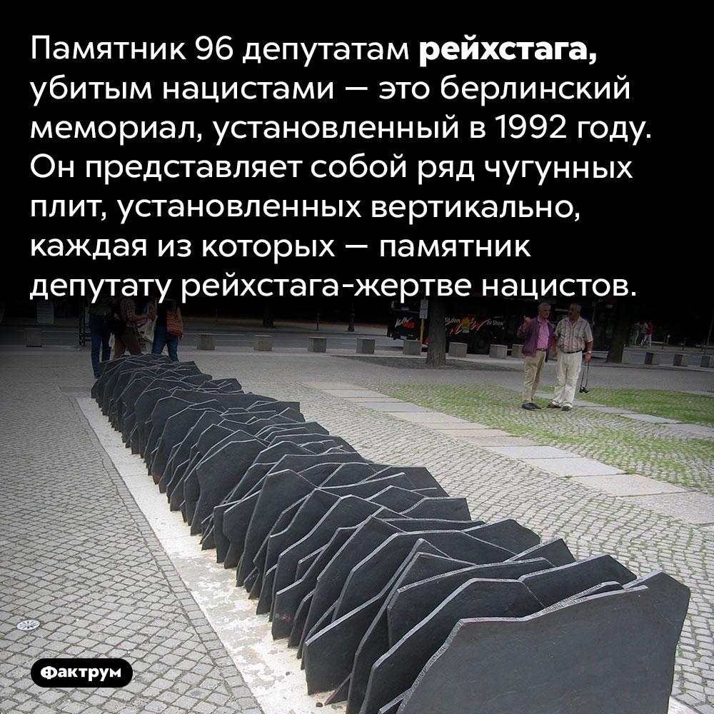 Памятник 96депутатам рейхстага, убитым нацистами. Памятник 96 депутатам рейхстага, убитым нацистами — это берлинский мемориал, установленный в 1992 году. Он представляет собой ряд чугунных плит, установленных вертикально, каждая из которых — памятник депутату рейхстага-жертве нацистов.