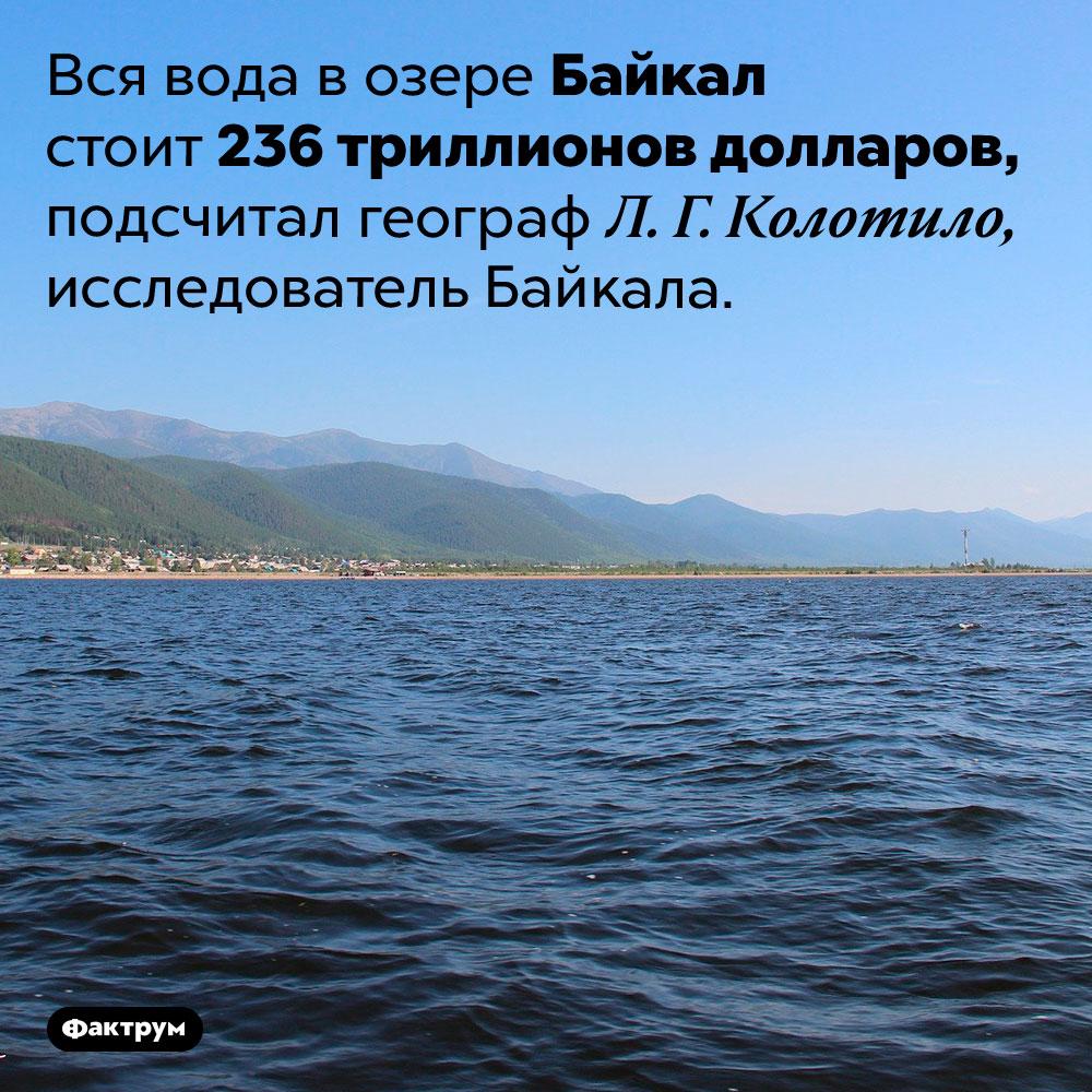 Сколько стоит вся вода Байкала. Вся вода в озере Байкал стоит 236 триллионов долларов, подсчитал географ Л. Г. Колотило, исследователь Байкала.