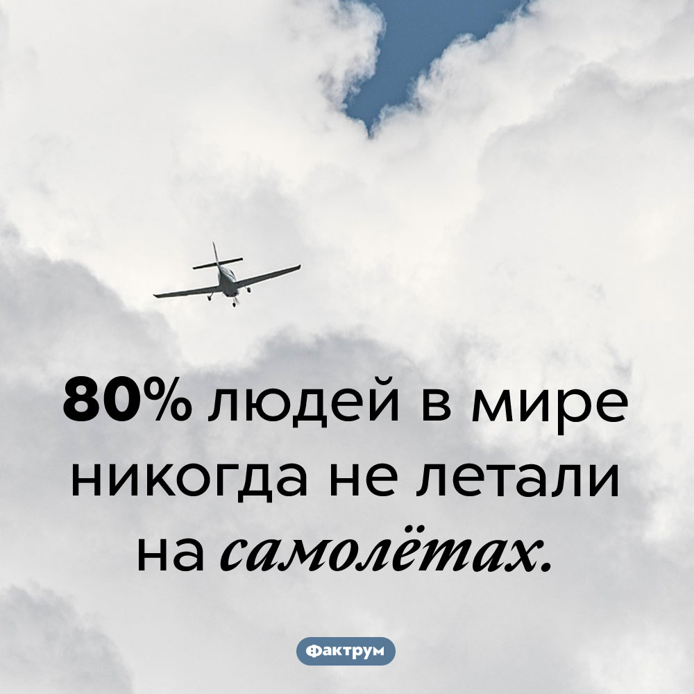 Сколько людей никогда нелетали насамолётах?. 80% людей в мире никогда не летали на самолётах.