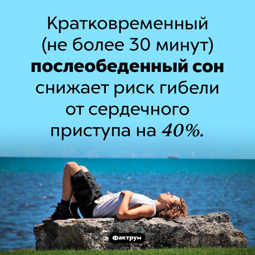 Почему короткий дневной сон полезен. Кратковременный (не более 30 минут) послеобеденный сон снижает риск гибели от сердечного приступа на 40%.