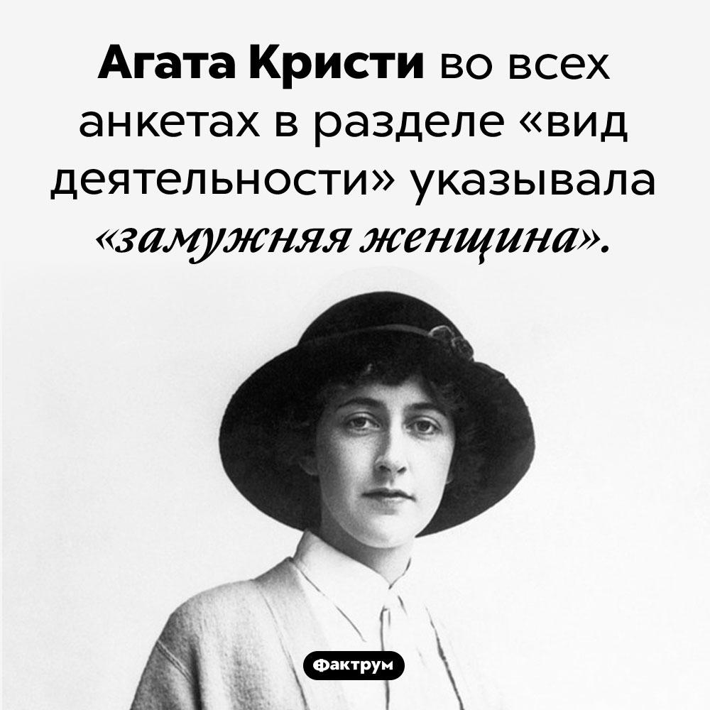 Агата Кристи считала замужество своей основной работой. Агата Кристи во всех анкетах в разделе «вид деятельности» указывала «замужняя женщина».