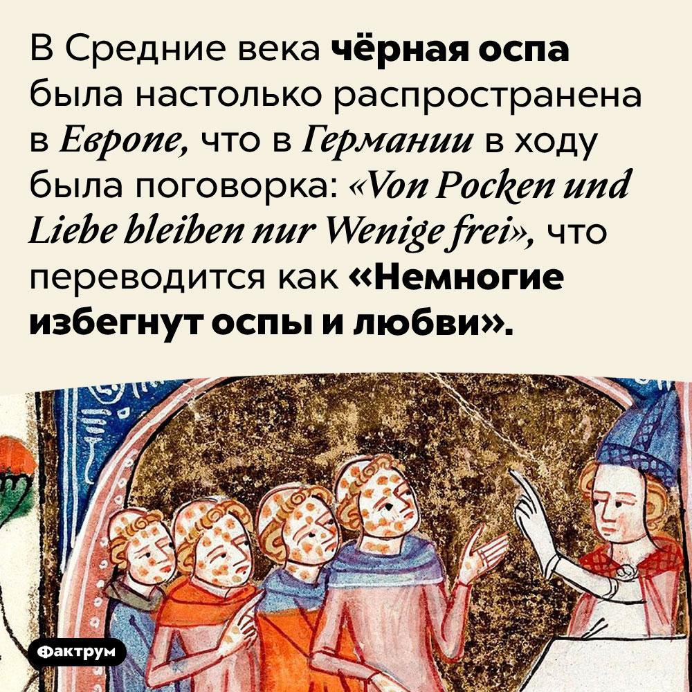 «Немногие избегнут оспы илюбви». В Средние века чёрная оспа была настолько распространена в Европе, что в Германии в ходу была поговорка: <em>«Von Pocken und Liebe bleiben nur Wenige frei»,</em> что переводится как «Немногие избегнут оспы и любви».