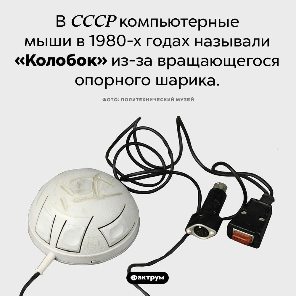 Манипулятор Колобок. В СССР компьютерные мыши в 1980-х годах называли «манипулятор Колобок» из-за вращающегося опорного шарика.