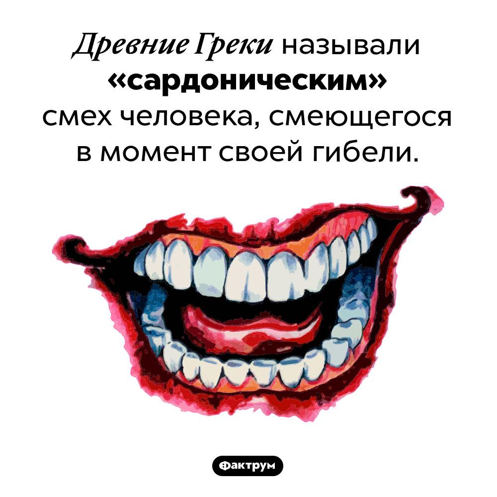 Какой смех древние греки называли «сардоническим». Древние Греки называли «сардоническим» смех человека, смеющегося в момент своей гибели.