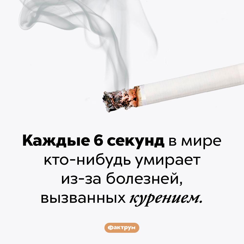 Курить вредно, чёрт побери!. Каждые 6 секунд в мире кто-нибудь умирает из-за болезней, вызванных курением.