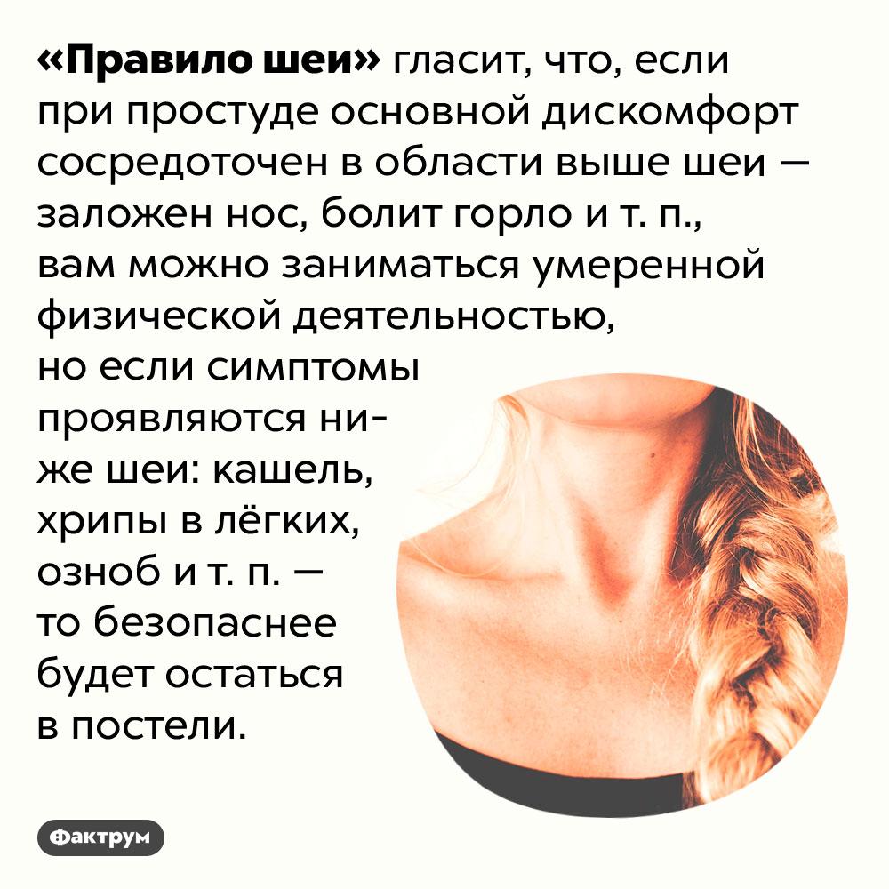 Что такое «Правило шеи». «Правило шеи» гласит, что, если при простуде основной дискомфорт сосредоточен в области выше шеи — заложен нос, болит горло и т. п., вам можно заниматься умеренной физической деятельностью, но если симптомы проявляются ниже шеи: кашель, хрипы в лёгких, озноб и т. п. — то безопаснее будет остаться в постели.