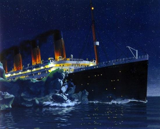 Титаник затонул из-за того, что центральный винт не мог менять направление движения