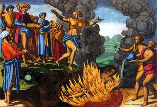 В Индии был широко распространён обычай самосожжения вдовы вместе с покойным мужем