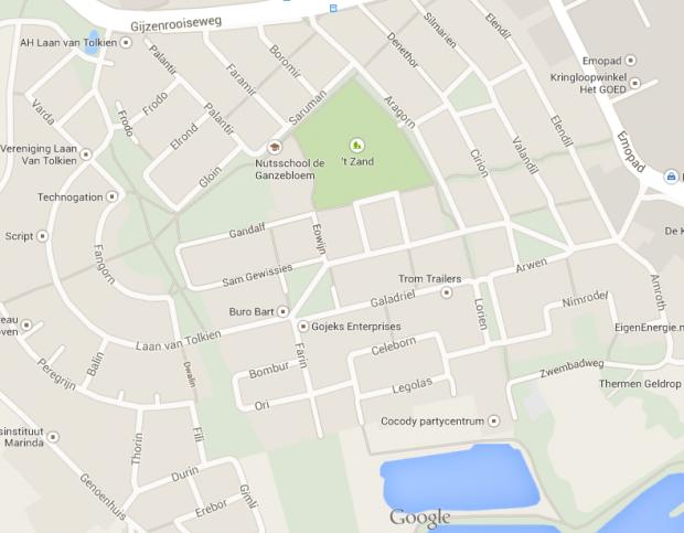 В голландском городке Гельдроп улицы названы в честь героев «Властелина колец»