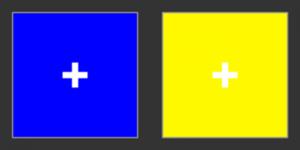 Поместите картинку напротив глаз и постарайтесь расфокусировать зрение таким образом, чтобы знаки плюса наложились друг на друга, образовав один плюс в центре. Вы увидите невозможный жёлто-синий цвет.