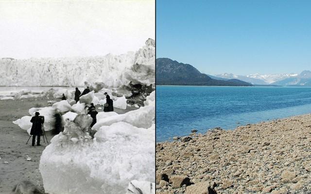 Ледник Мьюра (Аляска) в 1882 и 2005 году