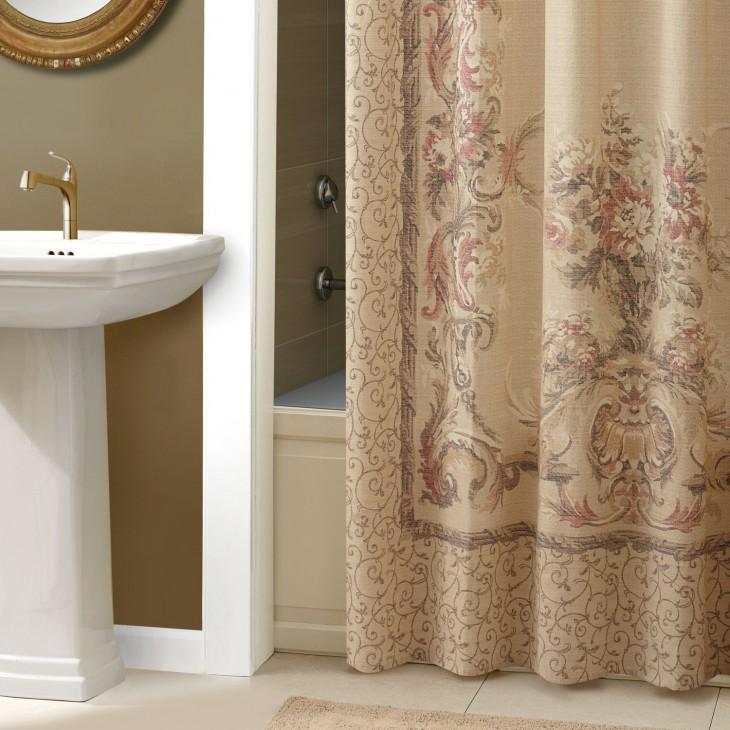 Croscill Normandy Shower Curtain Neutral Damask Scroll Beige French Country Bath Ebay