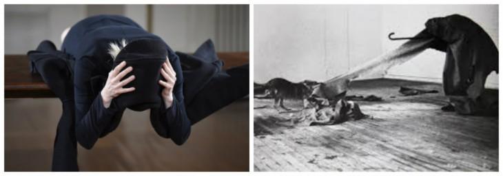 Тильда Сиунтон вперфомансе «Гардероб» обнимается содеждой, Йозеф Бойс вперфомансе «Койот: ялюблю Америку, иАмерика любит меня» заперся натри дня вкомнате скойотом.