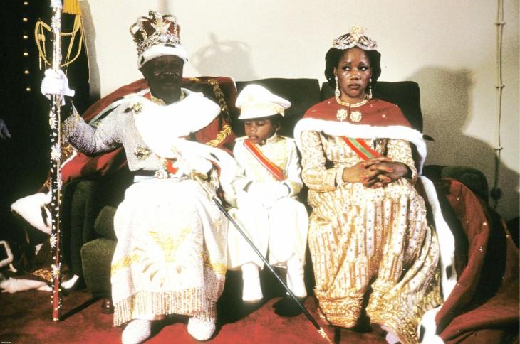 Бокасса II с родителями, 1976 год