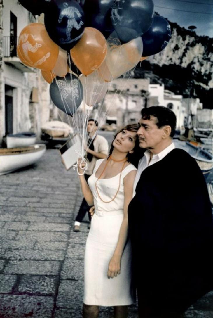 Софи Лорен иКларк Гейбл насъемках фильма «Это началось вНеаполе», 1960