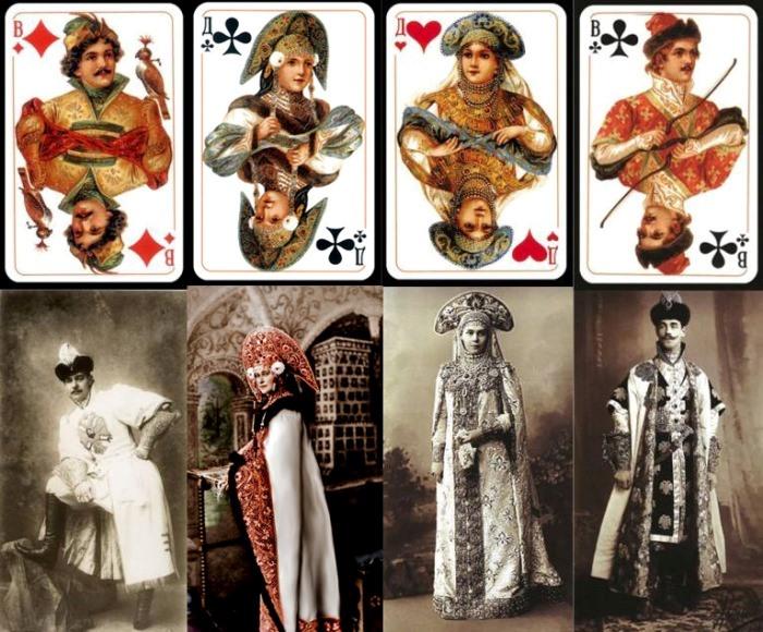 Карты колоды «Русский стиль», срисованные с участников костюмированного бала