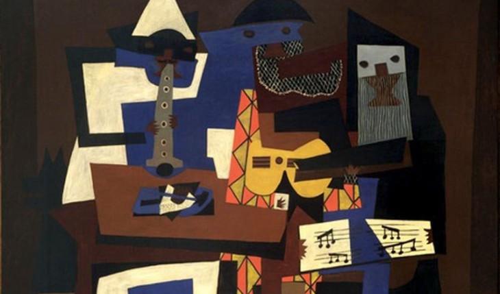 Считается, что Пабло Пикассо увидел раскрашенную ослепляющим камуфляжем пушку на параде в Париже, и это вдохновило его на создание некоторых знаменитых работ. Картина перед вами — «Три музыканта».