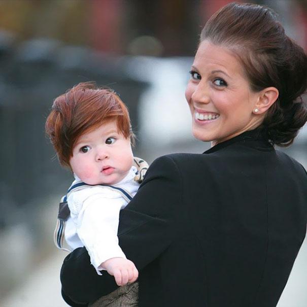 Фото 8 - 15 малышей, родившихся с удивительно роскошными причёсками